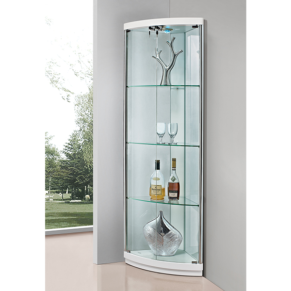 Made In China Cheap Price Living Room Modern Design Corner Round Glass Display Cabinet For