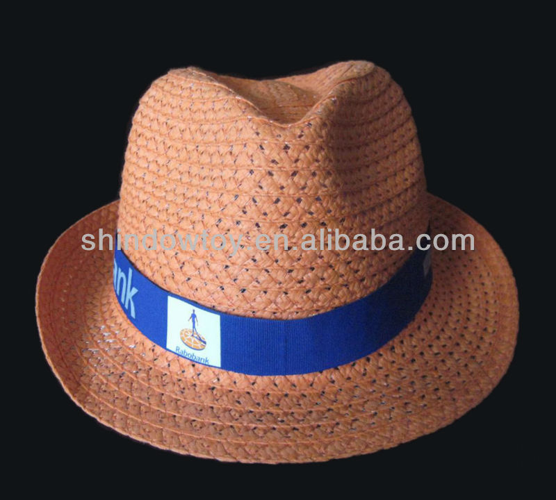 Orange Fedora paper straw hat, Promotion straw hat