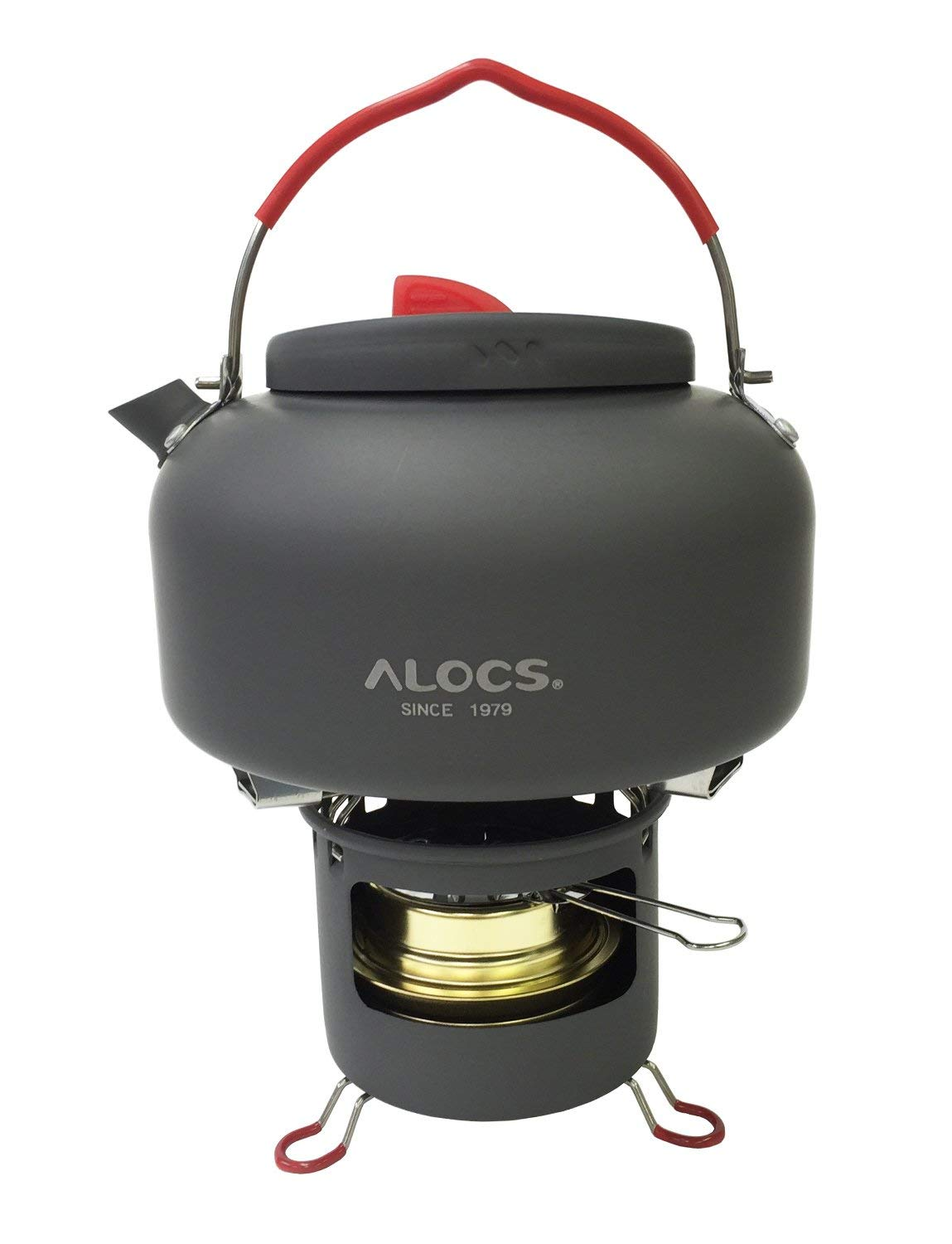 Alocs 3pcs Camping Kettle Set contains support,alcohol heaterand 1.4L/47.34fl oz kettle