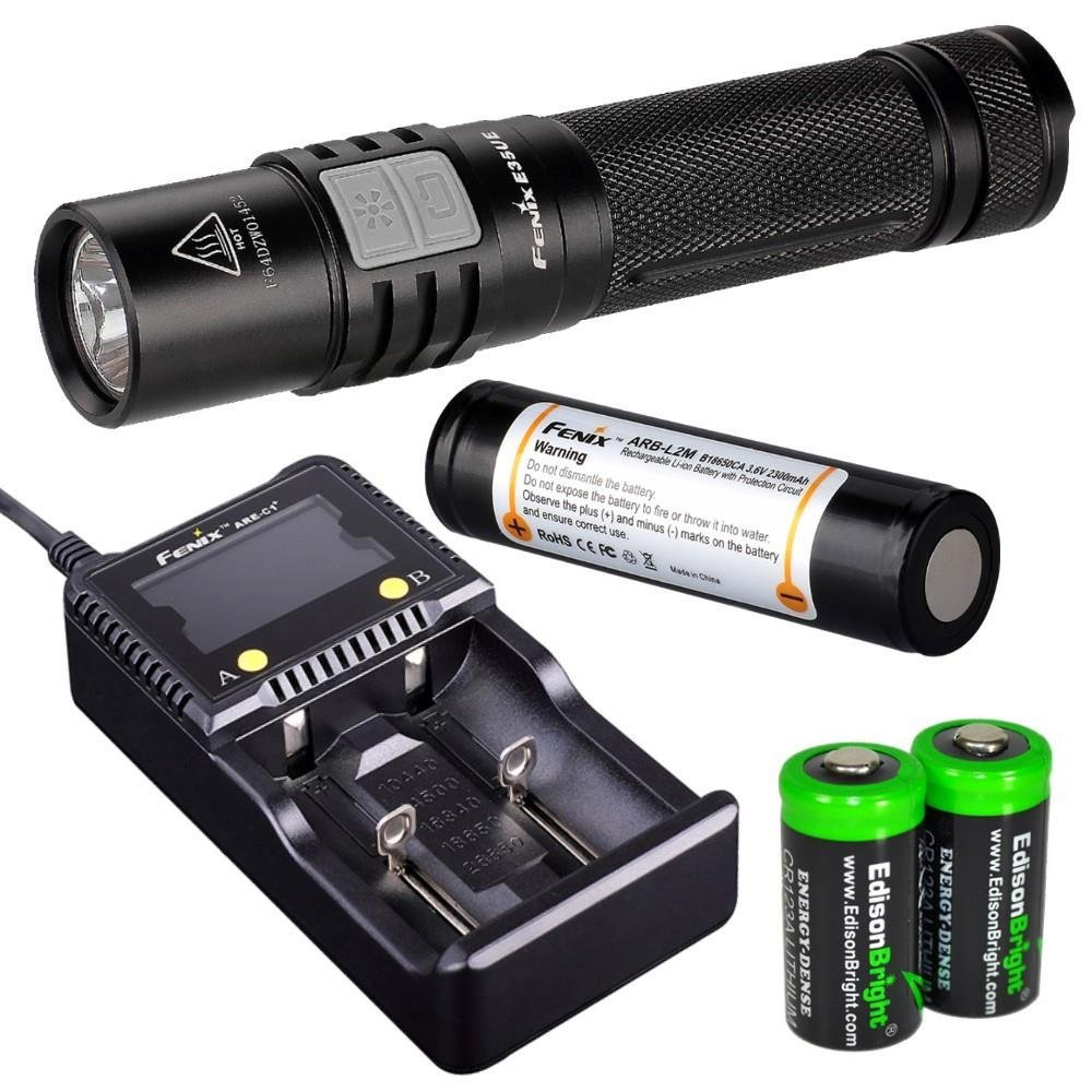 Fenix E35 Ultimate Edition (E35UE) 900 Lumen CREE XM-L2 U2 LED Flashlight with Genuine Fenix ARB-L2M 18650 Li-ion rechargeable battery, Nitecore i2 intelligent Charger and 2 X EdisonBright CR123A Lithium batteries package