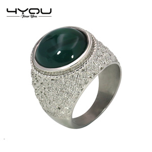 Wholesale Luxury Stainless Steel Jewelry Aqeeq Big Stone Ring Designs for Women With Zircon
