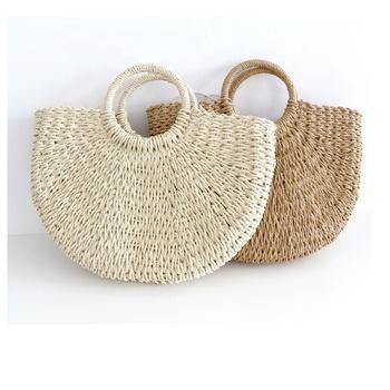 Straw Bag Half Moon Summer Tassels Natural Basket Handbag Beach Women Bags Product On Alibaba