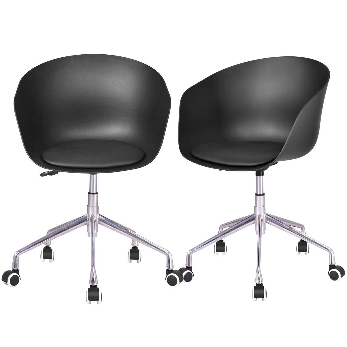 9ddaa2697338 Get Quotations · CHOOSEa ndBUY Set of 2 PP Swivel Height Adjustable Rolling  Desk Chairs Chair Desk Rolling Office