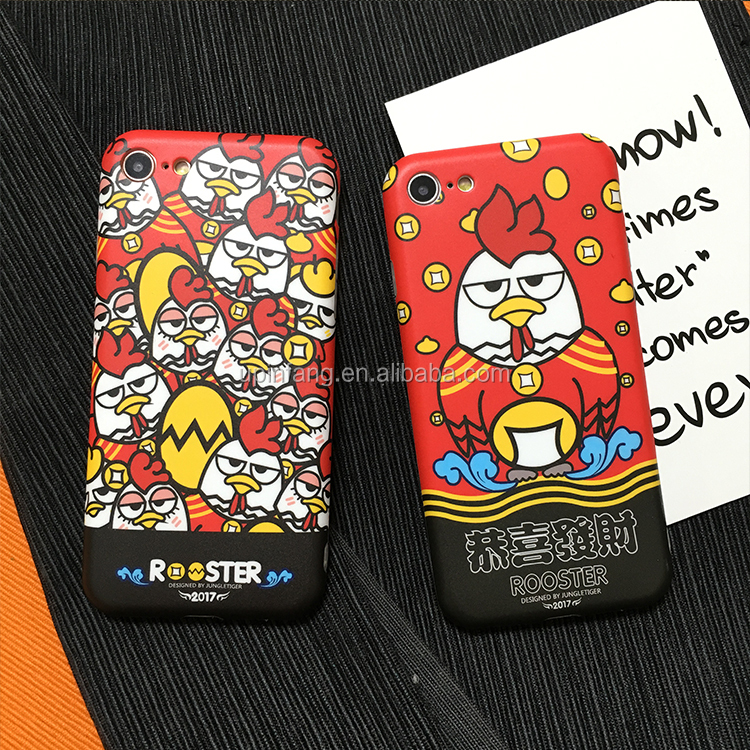 Fashionable cute chicken design silicone red mobile phone case for iphone