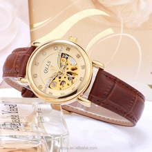 leather band lady mechanical watches with visible mechanism