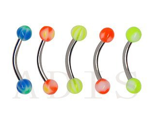 Mixed color acrylic ball stainless steel eyebrow rings curved barbell piercing