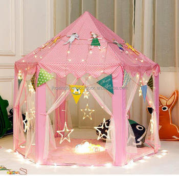 Girls Princess Play Tent Kids Children Indoor Castle Large Play Tents with Star String Lights & Girls Princess Play Tent Kids Children Indoor Castle Large Play ...