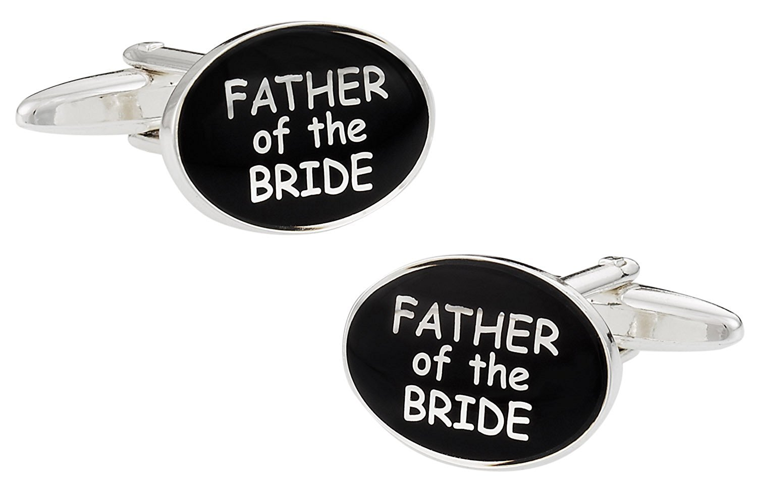 Cuff-Daddy Wedding Cufflinks for Father of the Bride in Black & Silver with Presentation Box