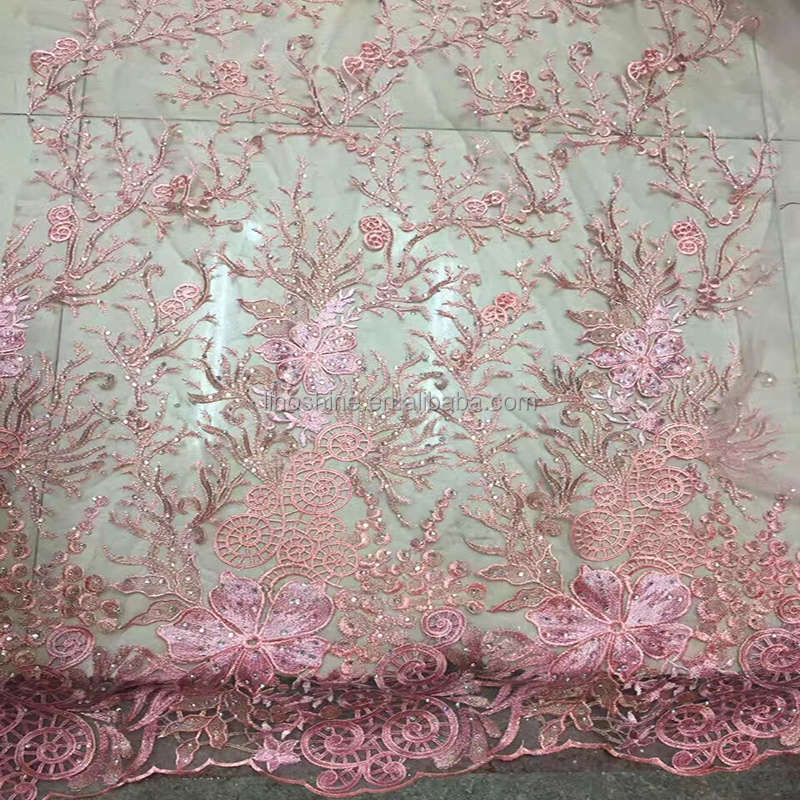 OEM accepted embroidery net fabric /dress making embroidery lace fabric