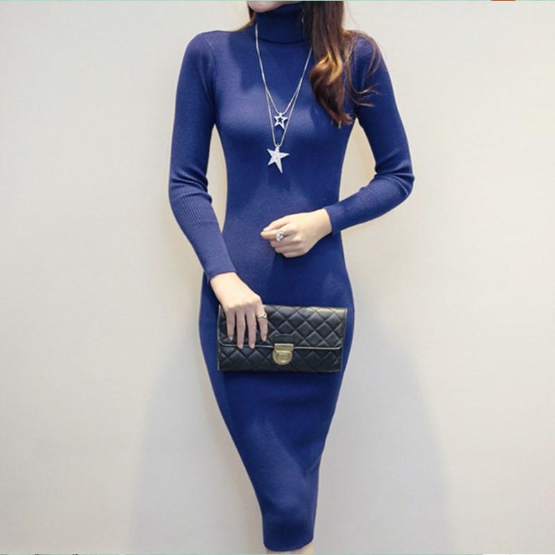 2016 New Sexy Autumn font b Winter b font Women Bottom Sweater Dress Bodycon Knit Slim