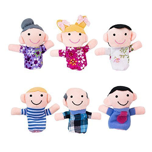 Mini Grandparents, Mom & Dad, Brother & Sister Family Style Finger Puppets for Children, Shows, Playtime, Schools - 6 Piece Set by Super Z Outlet