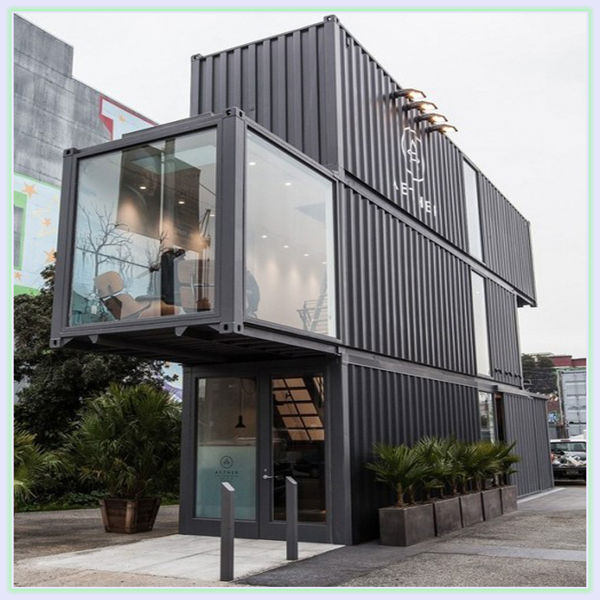 movable modern 20ft used marine container house 40ft ocean container  fashion home with wood wall sandwich