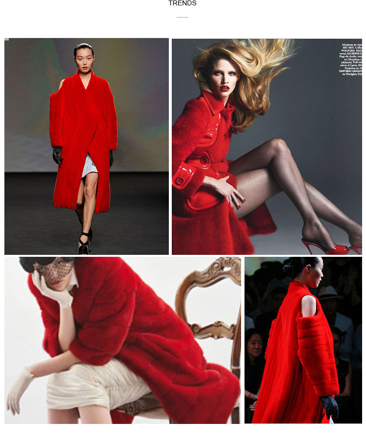Red Luxury Mink Fur Dress Mink Fur Gown Coat