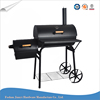 Heavy duty outdoor european charcoal barbecue grill with offset smoker