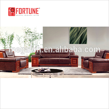 American Style Wood Furniture Design Artistic Leather Office Sofa Set Foh 6606