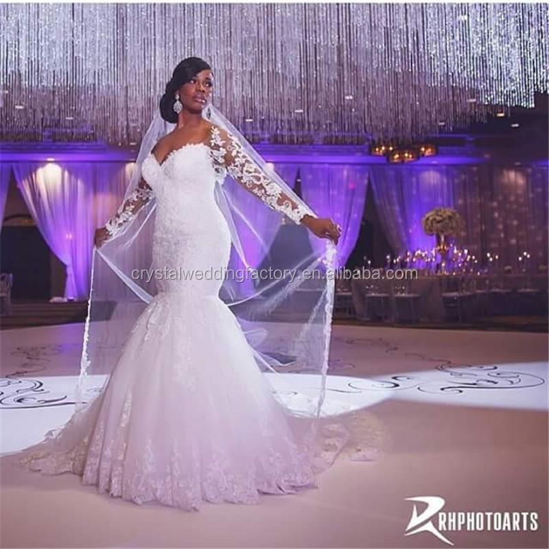 Alibaba elegante blanco de manga larga de encaje sirena vestidos de ...
