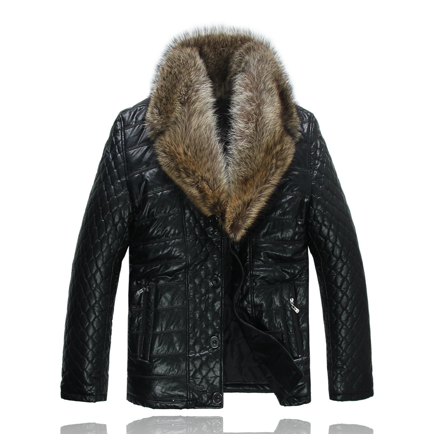 2015 winter genuine leather clothing male thickening fox fur short slim design sheepskin leather clothing men's clothing fur