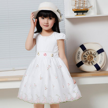 Korean Kids Clothes Teenage Girls Clothing Brands White Wedding Dresses Lace Floral Girls Summer Dresses For