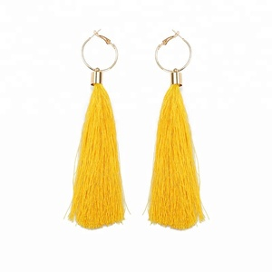 Beautiful style thread hoop ear drop alloy cotton tassel earring women