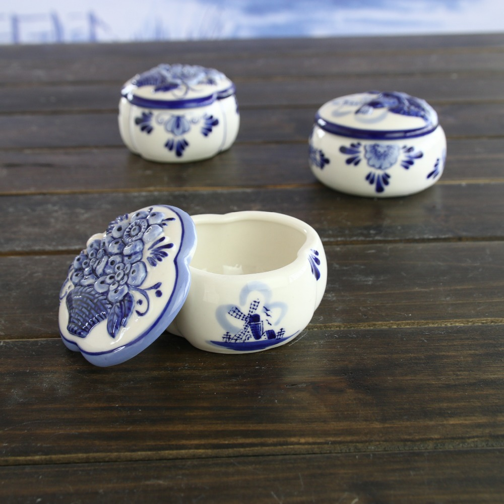 Ceramic Europe style blue and white holland delft blue jewellery storage box valentine's wedding birthday gifts home decoration