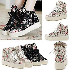 Anminlink Fashion Girls Floral Boots High Heels Platform Canvas Joker Shoes White 39