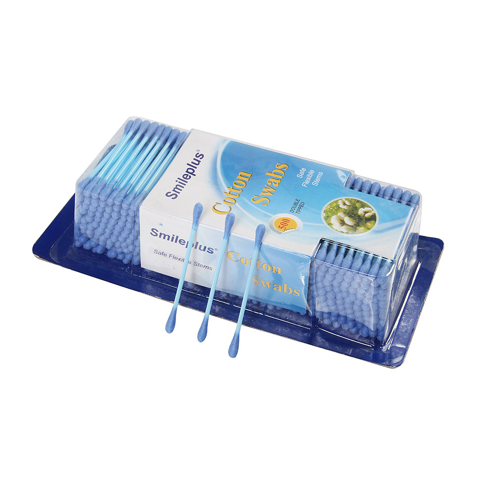 Disposable sterile 550pcs plastic stick ear absorbent cotton buds/swabs in blister pack