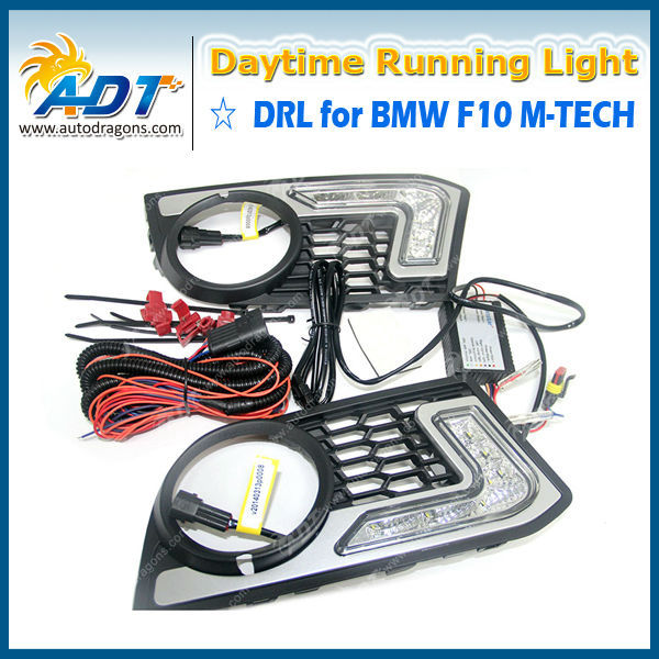 Front fog light grill with LED DRL daytime running lights FOR BMW 5 Series F10 10