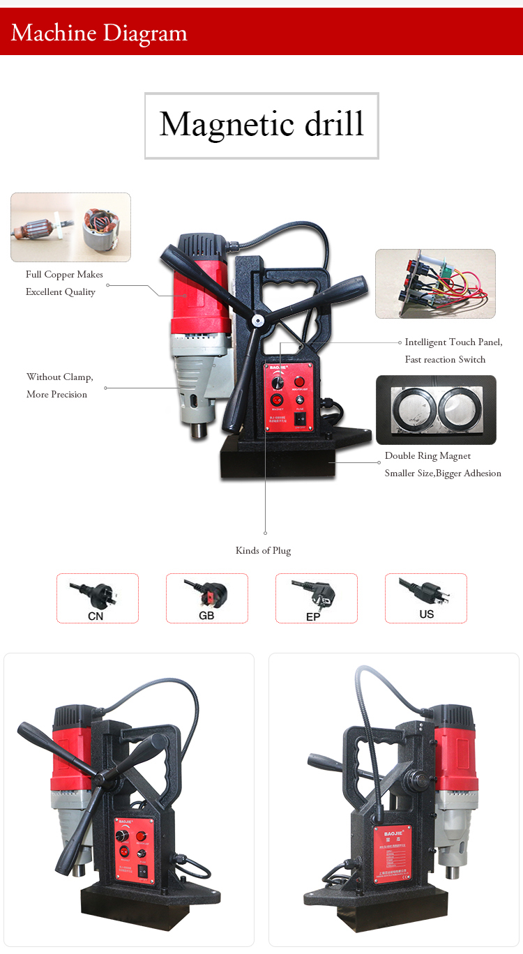 Electric Power Max Tools Magnetic Drill Machine 78mm 1880w Bj-7800e on