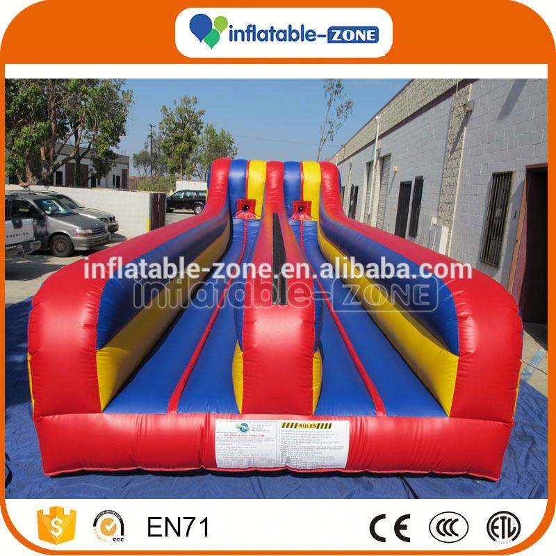 Good quality obstacle run twin lane bungee run football bungee run