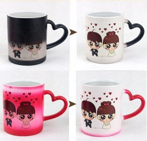 Heart Shaped Couple Novelty Gift Photo Color Changing Magic Mug Cup,by Sincere Trading(magic Mug)