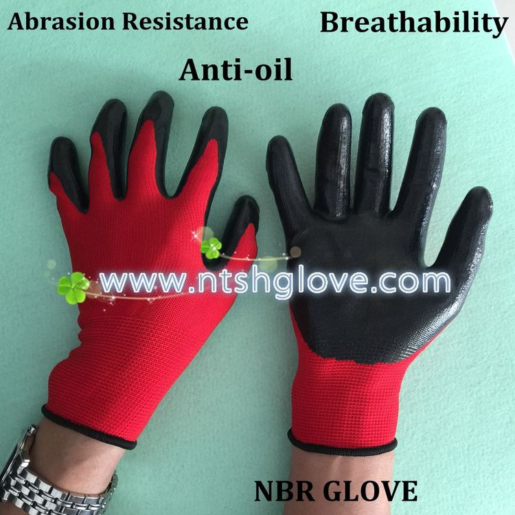 Unique protective work nitrile coated glove
