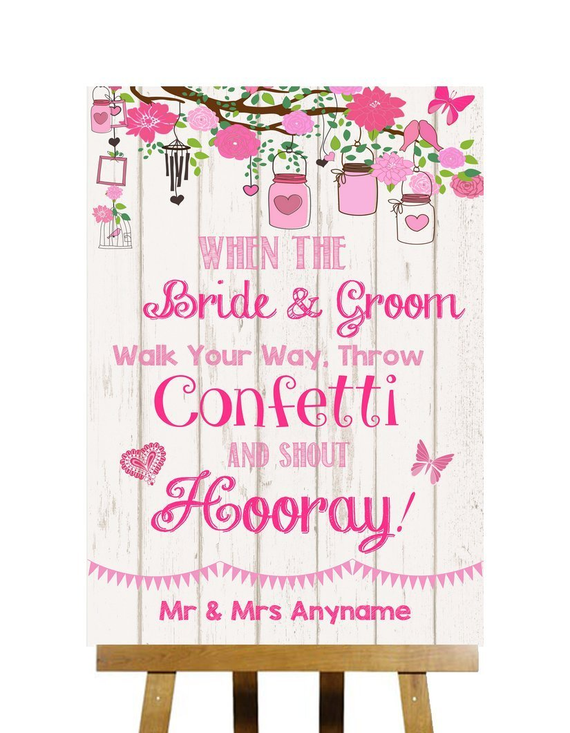 Pink Shabby Chic Rustic Wood Effect Confetti Personalized Wedding Sign