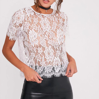 d03628671daafd Short Sleeve Transparent White Lace Blouses Women See Through Clothing Tops