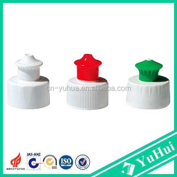 2015 best sell good quality household use plastic bottle closures non spill 28mm plastic bottle <strong>cap</strong> push pull