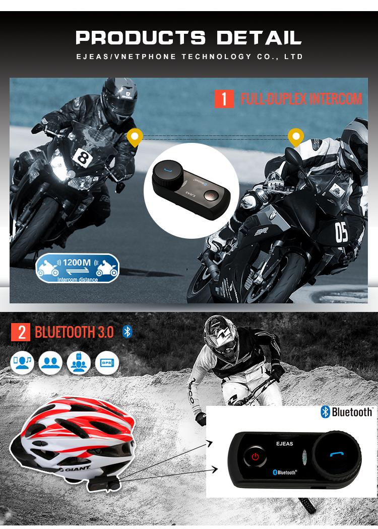 Waterproof Intercomunicadores Helmet Bluetooth Headset Intercom For Motorcycle Motorbike