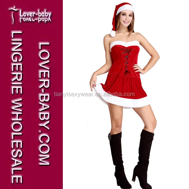 Lace Up Holiday Sexy Miss Santa Claus Costume Xmas Santa Outfit Fancy Dress Christmas Dress Outfit