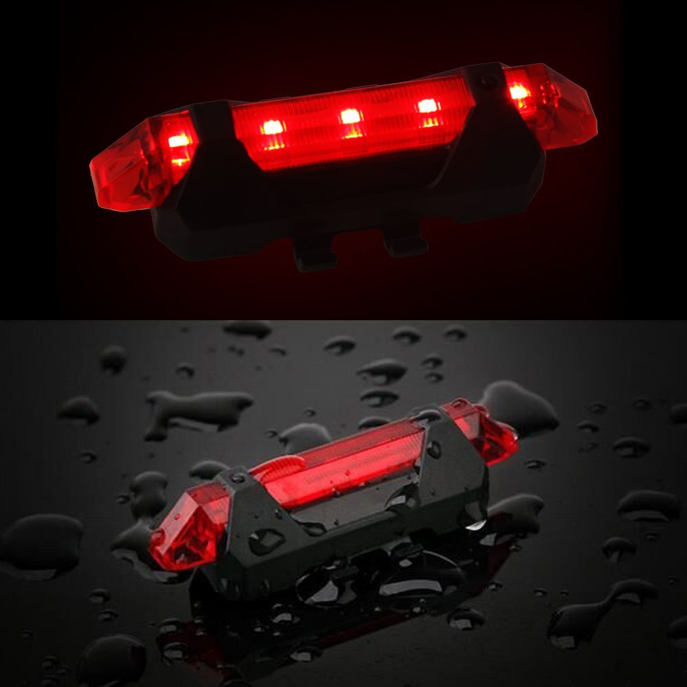 NOVPEAK Rechargeable USB Waterproof Bright Bicycle 5-LED 4 Mode Red Front Tail Warning Light Bike Cycling Safety Rear Flashing Alarm Lamp