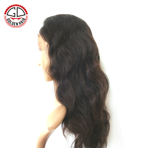 Golden Hair Wholesale Top Selling Perfect Unprocessed Brazilian Human Hair Lace Front Wig.