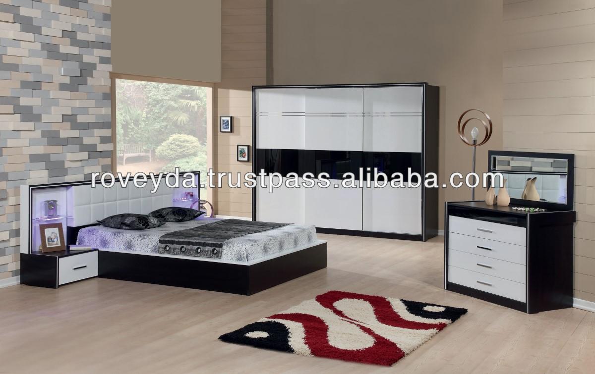 Ruya noir moderne chambre meubles set lots de literie id de ...