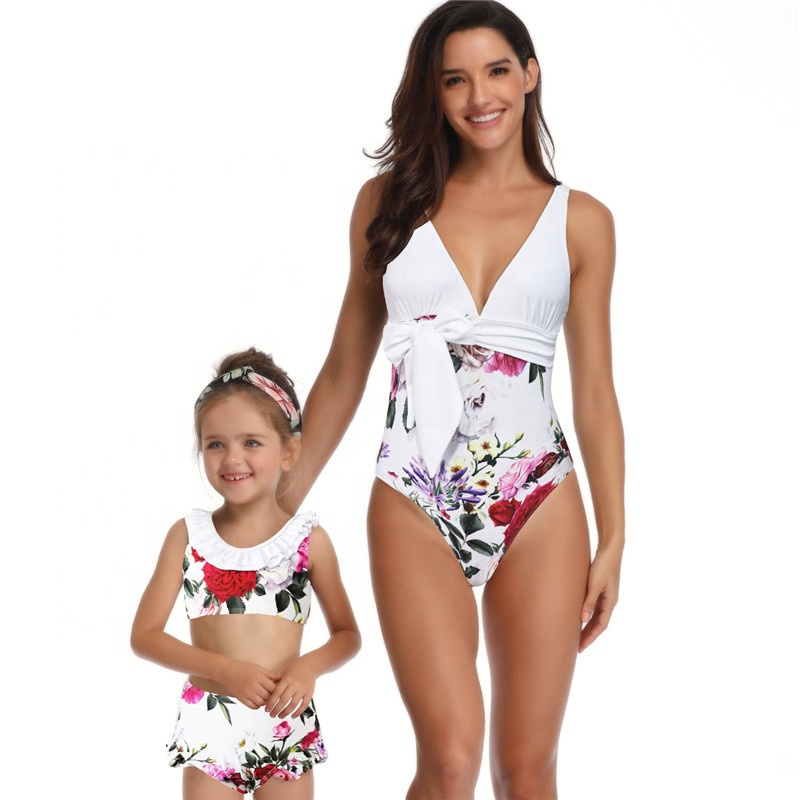 7d419bad84 Global Vogue Mom and Me Swimsuit Family Party Mother Girl Floral One Piece  Work Out Bathing Suit Swimwear Bikini Beachwear