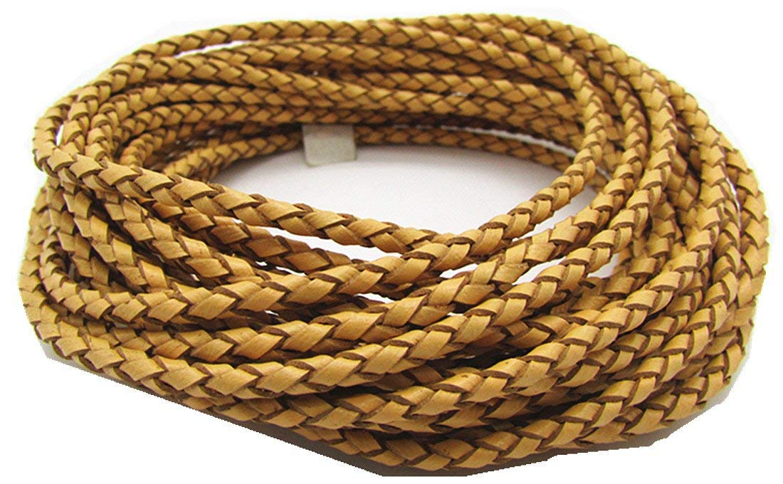 5.0mm 5meters Round Folded Bolo Braided PU Leather Cords for Necklace Bracelet Jewelry Making(About 5.5yards Reddish Brown, 5meter