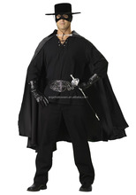 Vendita così veloce <span class=keywords><strong>halloween</strong></span> fancy panno nero adulto costume <span class=keywords><strong>di</strong></span> zorro AGM1577
