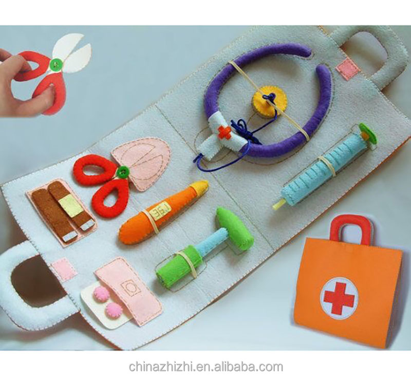 2018 best selling products in america OEM Amazon felt kids doctor bag toys and games custom handmade medical doctor play set