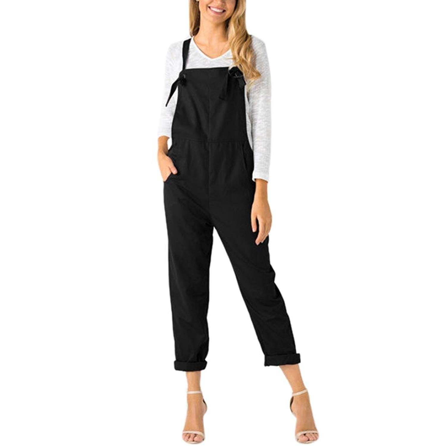 6819f9004 Get Quotations · POCCIOL Ladies Womens Soft Wearing Cotton Blend Pockets  Dungarees Rompers Jumpsuits Loose Pants Trousers
