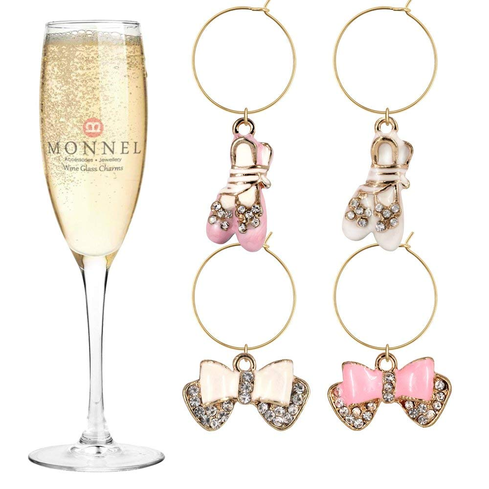 Sky Blue LUOEM 5pcs Birthstone Wine Glass Charms with 25mm Rings Wire Hoops Drink Markers Party Supplies Earrings