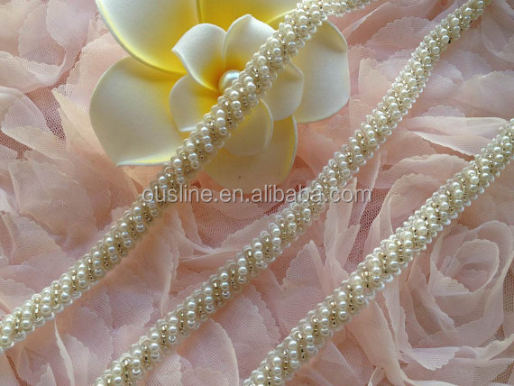 Beaded And Rhinestone Trim Pearl Embellishment Lace Trim