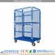 Warehouse steel material folding logistic roll container trolley