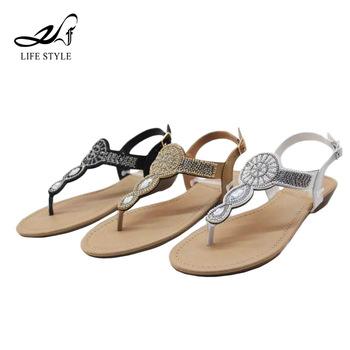 56af5570f4fcfe Hot Selling Footwear Diamond Plain Slide Simple Design Ladies Fancy Flat  Sandal