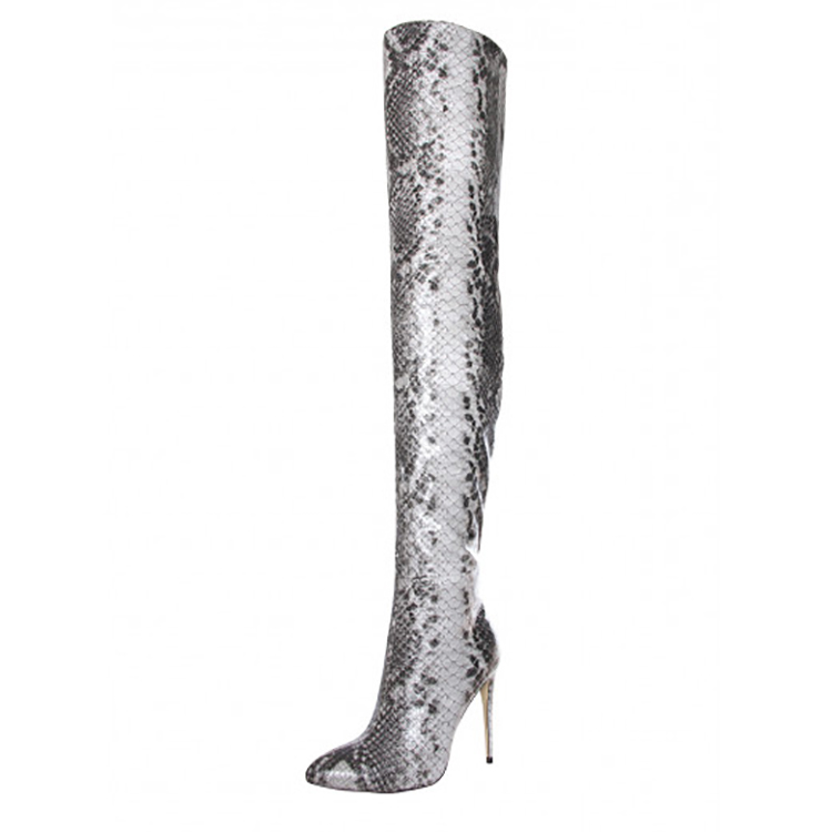 High Quality Shoes Snake Leather Women High Heel Long Sexy Lady Thigh High Boots