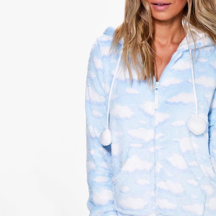 b4ec698c8b Cloud Print Hooded Fleece Adult Onesie Pajamas Custom Made - Buy ...